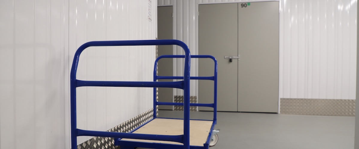 Inside Wantsum Self Storage, 24 hours a day, 7 days a week, easy loading from the door to your unit with trolleys provided.